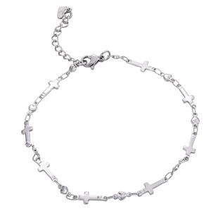 PREVIEW Stainless Steel Cross Charm Ankle Bracelet